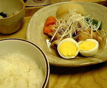 鶏の揚げ煮定食 煮玉子添え